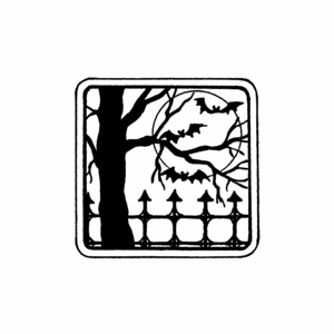 Fence, Tree, and Bat in Square Frame - C10461