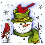 Happy Snowman With Cardinals - MM8304