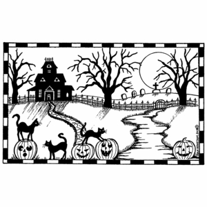 Haunted House, Cats, and Path - NN10463