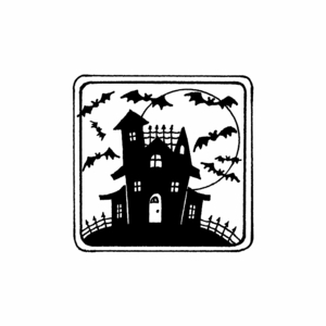 Haunted House in Square Frame - C10468