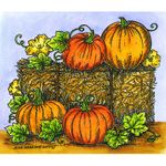 Hay Bale and Pumpkins - M10657