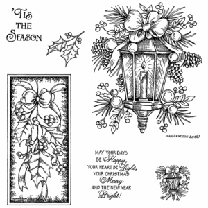Holiday Lamp Light and Holly Swag Cling Mount Stamp Set