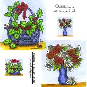 Holly Basket & Rose and Mum Vase Cling Mount Stamp Set