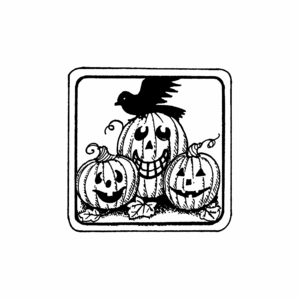 Jack O Lantern and Crow in Square Frame - C10480