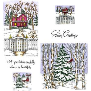 Majestic House & Large Spruce in Forest Cling Mount Stamp Set