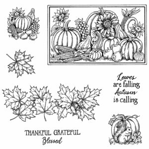 Maple Border and Pumpkins Cling Mount Stamp Set