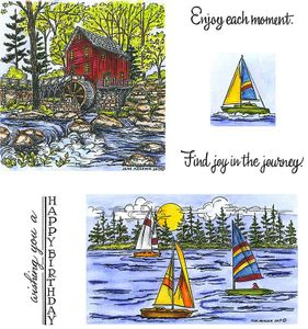 Mill & Sailboat Cling Mount Stamp Set
