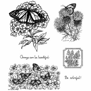 Monarch on Phlox Cling Mount Stamp Set