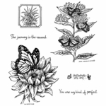 Monarch on Sunflower Cling Mount Stamp Set