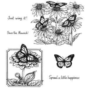 Monarchs & Coneflower Cling Mount Stamp Set