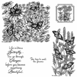 Monarchs in Butterfly Garden Cling Mount Stamp Set