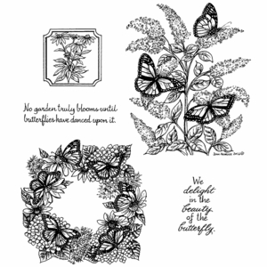 Monarchs On Butterfly Bush Cling Mount Stamp Set