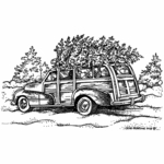 Old Fashioned Station Wagon With Tree - NN10503