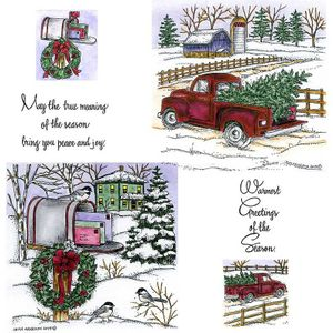 Old Fashioned Truck & Wreath Mailbox Cling Mount Stamp Set