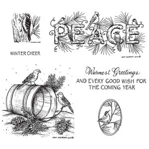 Peace and Birds on Water Pail Cling Mount Stamp Set