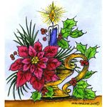 Poinsettia and Candlestick - M10694