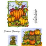 Pumpkin Leaves & Hay Bale Cling Mount Stamp Set