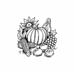 Pumpkin, Sunflower, Gourds, and Corn - C10491