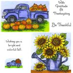 Pumpkin Truck & Sunflower Cling Mount Stamp Set