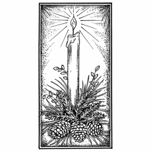 Single Candle With Pines in Rectangle Frame - NN10513
