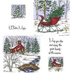 Sleigh and Church & Stone Bridge Cling Mount Stamp Set