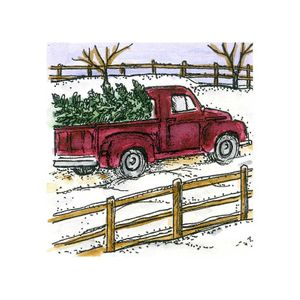 Small Old Fashioned Truck With Tree - C10713
