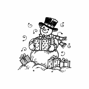 Small Snowman and Presents - CC10523