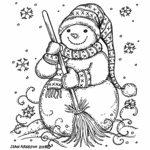 Snowman Scarf and Broom - P10517