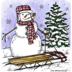 Snowman, Sled, and Spruce - PP10706