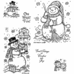 Snowman with Presents, Scarf and Broom Cling Mount Stamp Set