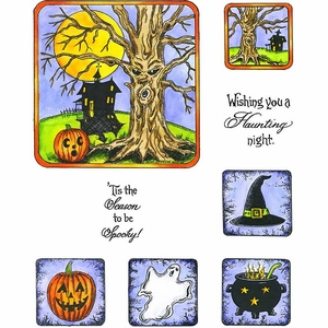 Spooky Tree Cling Mount Stamp Set