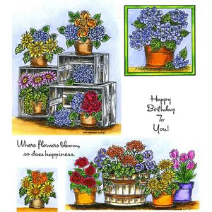 Spring Floral Crate Cling Mount Stamp Set