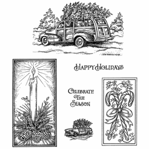 Station Wagon, Candle, and Candy Cane Cling Mount Stamp Set