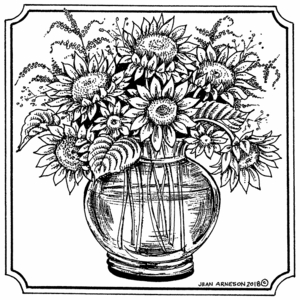 Sunflower in Glass Vase - PP10497