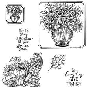 Sunflower Vase and Cornucopia Cling Mount Stamp Set