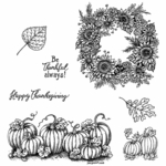 Sunflower Wreath and Pumpkin Border Cling Mount Stamp Set