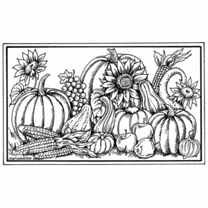Sunflowers, Gourds, and Pumpkins - NN10490