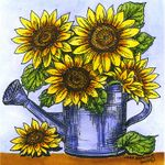 Sunflowers in Watering Can - PP10664