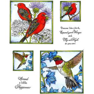 Tanager & Hummingbird Cling Mount Stamp Set