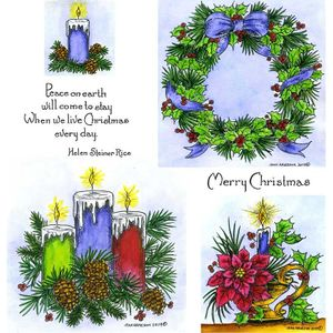 Three Candles & Holly and Pine Wreath Cling Mount Stamp Set