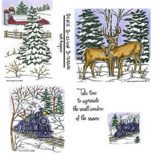 Train & Deer Pair and Spruce Cling Mount Stamp Set