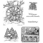 Wagon Wheel and Winter Train Cling Mount Stamp Set