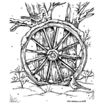 Wagon Wheel with Cardinals and Tree P10532