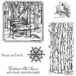 Winter Bench and Cardinals on Birch Cling Mount Stamp Set