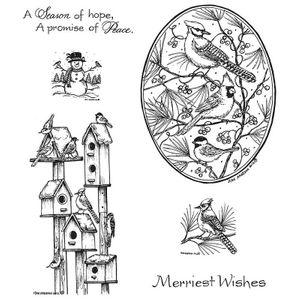 Winter Birdhouses and Blue Jay Oval NO-033