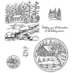 Winter Church and Cabin Cling Mount Stamp Set