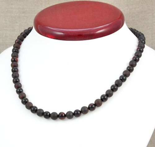Amber Necklace with Matte and Polished Black Baltic Amber