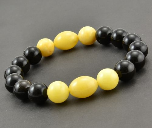 Amber Bracelet Made of Black and Butterscotch Amazing Baltic Amber