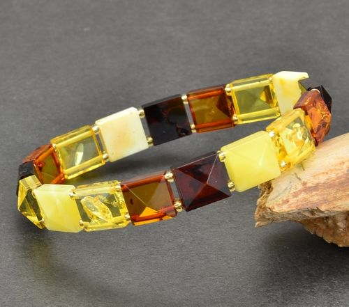 Amber Bracelet Made of Pyramid Shape Amber Pieces