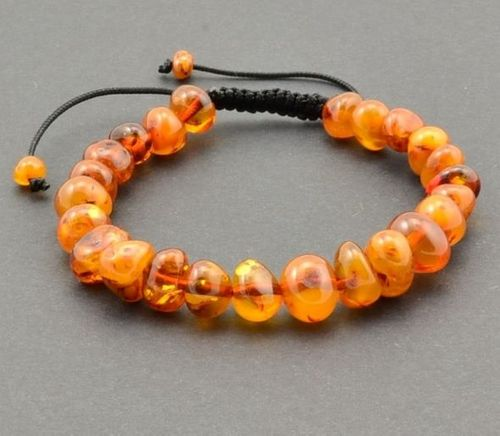 Adjustable Bracelet with Precious Healing Baltic Amber